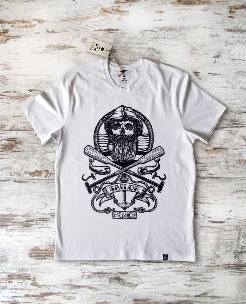 Camiseta Sailor Skull blanca hombre