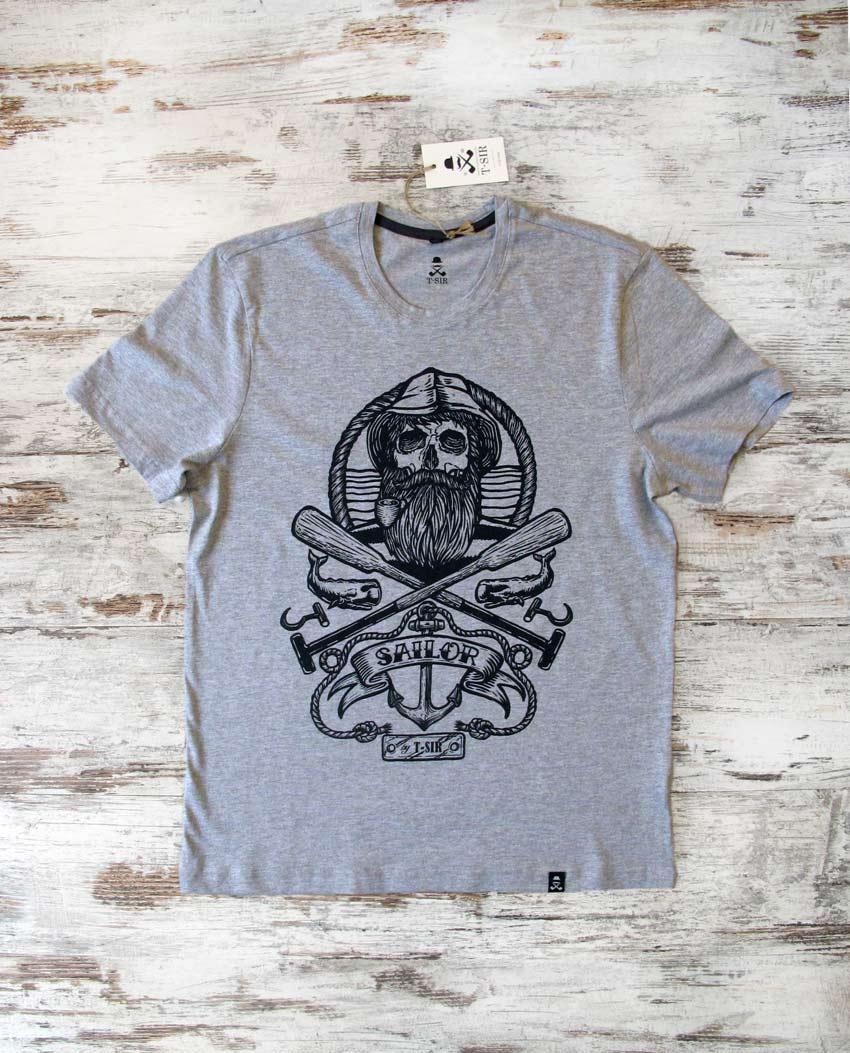 Camiseta Sailor Skull hombre gris
