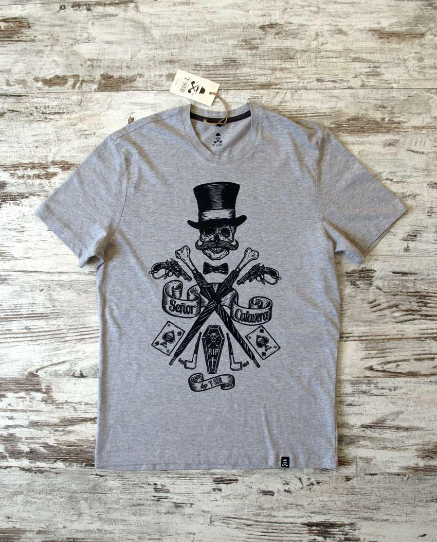 Camiseta Sr. Calavera hombre gris