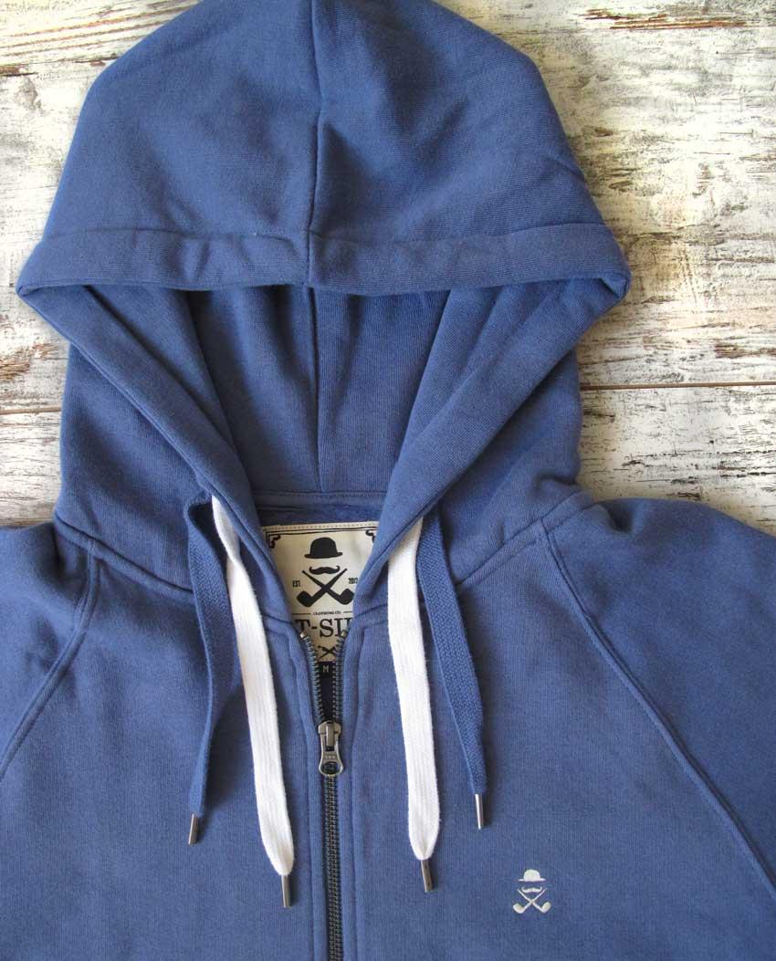 Sudadera cremallera T-Sir unisex azul denim detalle