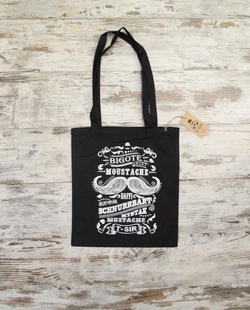 Bolsa de algodón Mustache negra